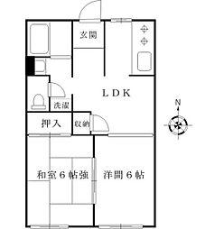 JR山手線 高田馬場駅 徒歩10分の賃貸アパート 1階2LDKの間取り