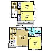 リフォーム済1階は12.5帖LDKと8帖洋室と水回り、2階は6帖洋室2部屋の3LDKの間取りです。ご夫婦とお子様2人の4人家族にちょうど良い間取りです。