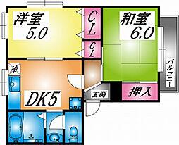 兵庫県神戸市灘区高羽町2丁目の賃貸アパートの間取り