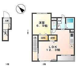 ソフィーナ(アパート) 2階1DKの間取り