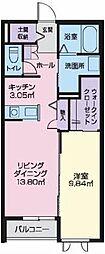 JR奥羽本線 山形駅 山形警察署前下車 徒歩4分の賃貸アパート 2階1LDKの間取り