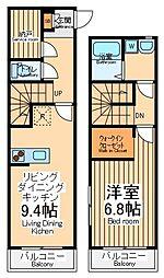 JR南武線 中野島駅 徒歩9分の賃貸アパート 2階1SLDKの間取り