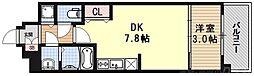 THE GARNET MILLENNIUM KYOTO九条烏丸 1階1DKの間取り