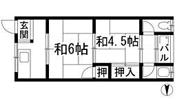 大阪府池田市鉢塚2丁目の賃貸アパートの間取り
