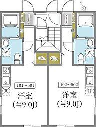 東京メトロ東西線 早稲田駅 徒歩7分の賃貸マンション 4階ワンルームの間取り