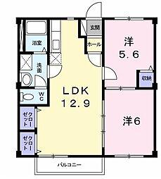 福岡県北九州市門司区大字田野浦の賃貸アパートの間取り