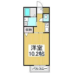 コスモハイムII 1階1Kの間取り