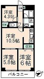 シェ・モア桜ヶ丘[502号室]の間取り