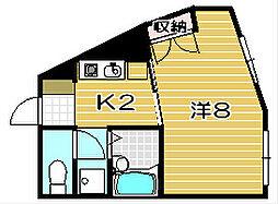 大阪府高槻市南芥川町の賃貸マンションの間取り
