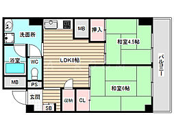 野田パークマンション[9階]の間取り