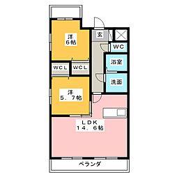 クレスト上名古屋[3階]の間取り
