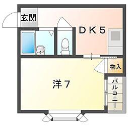 ハイ・インペリアルA 2階1DKの間取り