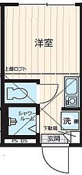 JR山手線 新宿駅 徒歩15分の賃貸アパート 1階ワンルームの間取り