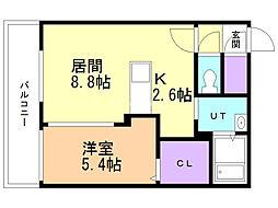 サムティレジデンス福住 (旧カレラ福住) 1階1LDKの間取り
