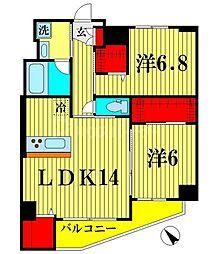 ザ アークトゥルス スピカ 8階2LDKの間取り
