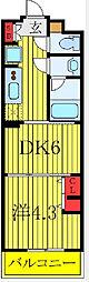 都営三田線 新板橋駅 徒歩8分の賃貸マンション 4階1DKの間取り
