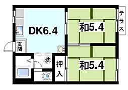 奈良県大和郡山市箕山町の賃貸アパートの間取り