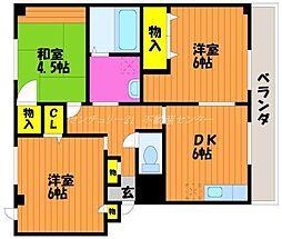 岡山県倉敷市大内の賃貸マンションの間取り