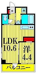 都営浅草線 浅草駅 徒歩12分の賃貸マンション 3階1LDKの間取り