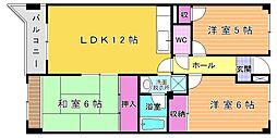 福岡県北九州市小倉南区守恒5丁目の賃貸マンションの間取り