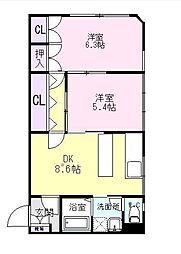 静岡県伊豆の国市田京の賃貸アパートの間取り