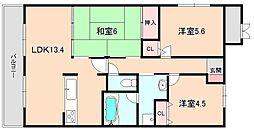 ロイヤルパティオ矢野第三マンション[407号室]の間取り