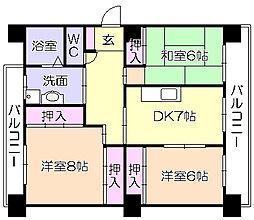 ファミールマンション広川[302号室]の間取り