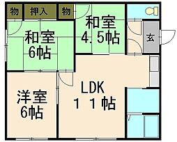 北海道小樽市オタモイ3丁目の賃貸アパートの間取り
