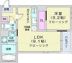 JR仙山線 東照宮駅 徒歩10分の賃貸アパート 1階1LDKの間取り