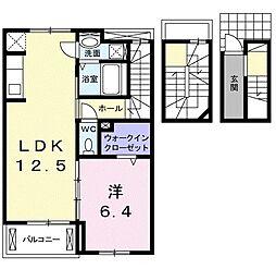 愛知県名古屋市緑区鳴海町字山腰の賃貸アパートの間取り