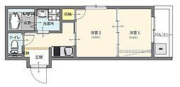 福岡市地下鉄七隈線 六本松駅 徒歩9分の賃貸アパート 2階2Kの間取り