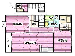 広島県安芸郡熊野町川角3の賃貸アパートの間取り