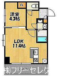 ヴォーヌンク博多駅東[4階]の間取り
