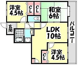大阪府堺市西区神野町3丁の賃貸マンションの間取り