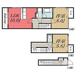 JR総武本線 四街道駅 バス11分 ポリテクセンター入口下車 徒歩3分の賃貸タウンハウス 2階2LDKの間取り