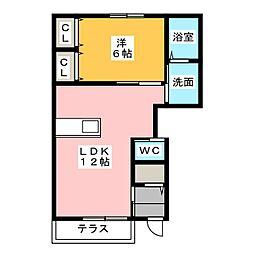 愛知県名古屋市港区当知3の賃貸アパートの間取り