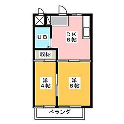 ハイツまついA・B[2階]の間取り