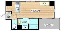 Lui Chance III(ルイシャンスIII) 2階1Kの間取り