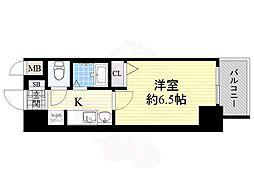 エステムコート大阪ベイエリア 5階1Kの間取り