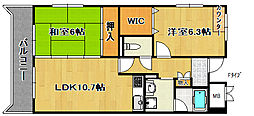 ボヌール御崎[3階]の間取り