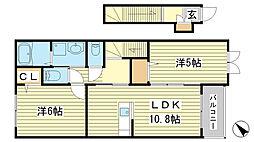 網干区興浜アパート[203号室]の間取り