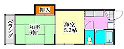 コーポ川島[201号室]の間取り