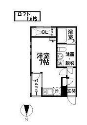 愛知県名古屋市瑞穂区洲雲町3丁目の賃貸アパートの間取り