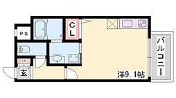 ARPEGGIO三宮 3階ワンルームの間取り