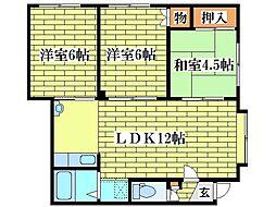 北海道札幌市清田区美しが丘二条8丁目の賃貸アパートの間取り