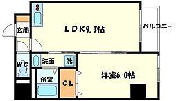 プレアデス千里山田 3階1LDKの間取り