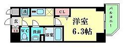 Osaka Metro四つ橋線 肥後橋駅 徒歩7分の賃貸マンション 2階1Kの間取り