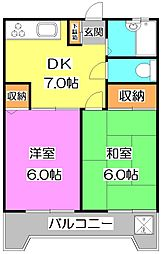 東京都練馬区高野台1丁目の賃貸マンションの間取り