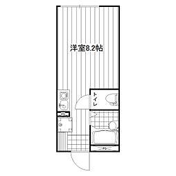 JR横浜線 矢部駅 徒歩8分の賃貸アパート 2階ワンルームの間取り