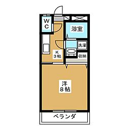 下東野コーポIII 1階1Kの間取り